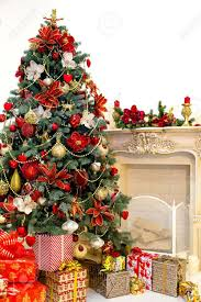 Christmas Livingroom Decorated Christmas Tree And Gift Boxes In Living Room Stock Photo