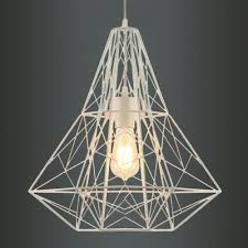 Cage Pendant Light Large Cage Pendant Light With Reel Iorn In White Finish
