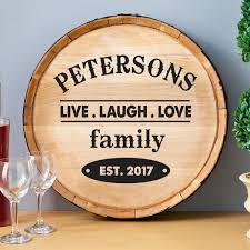 Love Home Decor Sign by Personalized Wood Wine Barrel Sign