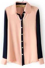 sleeve chiffon blouse pink lapel contrast sleeve chiffon blouse sheinside com