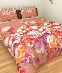 ab home decor beige floral woolen double bedsheet with 2 pillow