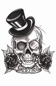 grey ink flowers and skull design