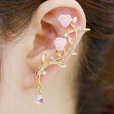 ear cuff 2018 one rhinestone leaf floral ear cuff golden in earrings