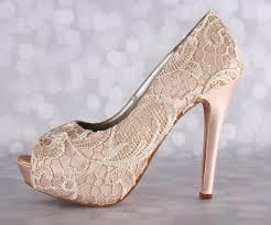 wedding shoes platform blush platform peep toe wedding shoes with ivory crocheted lace