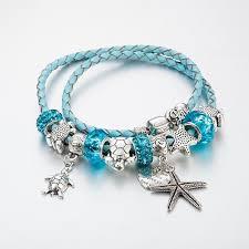 fashion charm leather bracelet images Ocean style sea turtles starfish charm leather bracelets silver jpg