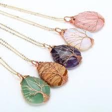 natural quartz necklace images Natural quartz opal stone necklace handmade rose gold color tree jpg