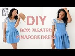 diy how to make a box pleated pinafore dress youtube
