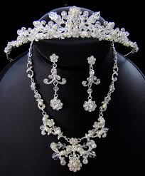 bridal necklace set pearl images Matching tiara jewelry set weddings eve jpg