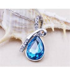 blue crystal necklace vintage images New vintage saphire jewelry creative ladies style love drift jpg
