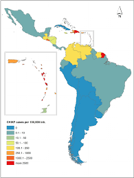 The Americas Map by Map Of Latin America Displaying Incidence Rate Of Chikungunya