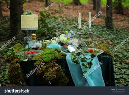 enchanted forest theme wedding decoration plate stock photo