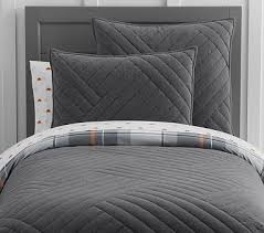 Pottery Barn Kids Quilts Organic Jersey Geo Weave Quilt Full Queen Charcoal Bedding