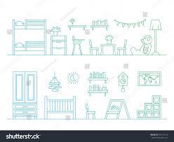 set elements kids room interior kid stock vector 419151115