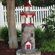 sunnydaze decor fiberglass classic stonework lighthouse water