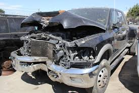 wrecked black jeep grand cherokee 2011 dodge ram megacab 3500 dually 6 7l diesel subway truck