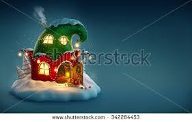 amazing fairy house decorated christmas shape stock illustration