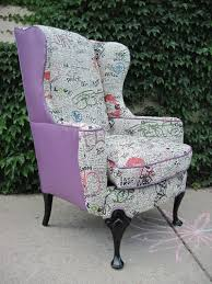 M S Armchairs Vintage Reupholstered Wing Back Graffiti Chair If I Could Afford