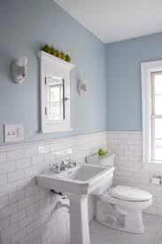 bathroom fashionable blue glass subway tile with white tiles