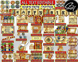 fun party stuff birthday party decorations harry potter editable