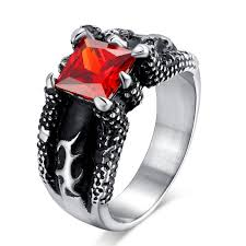gothic ruby rings images Retro gothic titanium steel men 39 s ring vintage skeleton red stone jpg
