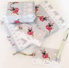 pug wrapping paper pug christmas wrapping paper by sirocco design