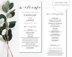 programs for wedding wedding programs etsy