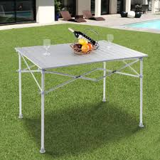 Outdoor Storage Coffee Table Goplus Aluminum Folding Picnic Cing Table Lightweight Roll Up
