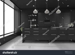 modern luxury kitchen designs 3d rendering black modern luxury kitchen stock illustration
