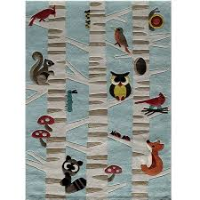 Blue Animal Print Rug Animal Print Rug Area Or Accent Forest Critters Rug