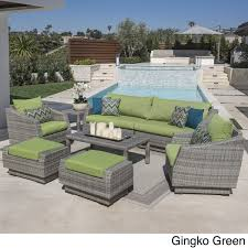rst brands cannes outdoor grey pe wicker 8 piece sofa club chair