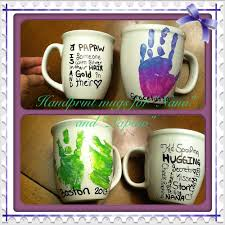 dollar store mugs used gloss enamels acrylic paint for handprint