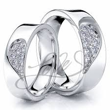 matching wedding bands solid 027 carat 6mm matching heart his and hers diamond wedding