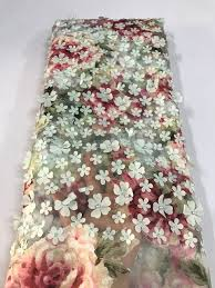 tulle fabric wholesale 3d flower lace tulle fabric high quality lace fabric