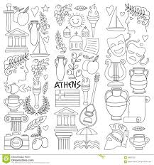 ancient greece vector elements in doodle style for coloring pages