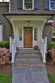Brick Stairs Design Front Porch Modern Home Exterior Design With Single Brown Wooden