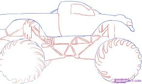 how to draw a monster truck step by step trucks transportation