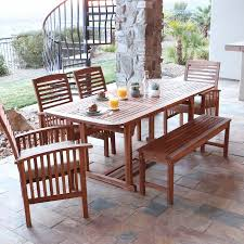6 Seat Patio Dining Set Walker Edison Acacia Patio Dining Set With Bench And Cushions
