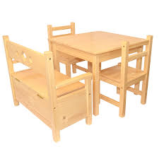 One And Three Chair Childrens Furniture Solid Pine Set Of 5 One Table And Three Chairs