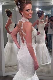 wedding dresses high lace high neck court ivory sheer back trumpet mermaid