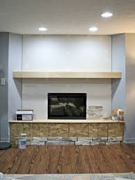 Built In Electric Fireplace Diy Stacked Stone Fireplace Where There Was None From Thrifty