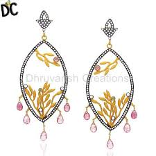 Designer Chandelier Earrings Get Quality Jewelry 22k Yellow Gold Plated Cz And Green Tourmaline