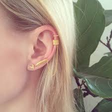 feather stud earrings warrior ear cuff and feather stud earrings gold phoebe coleman