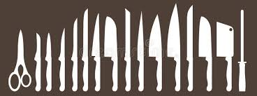 types of kitchen knives different types of kitchen knives vectors set stock vector