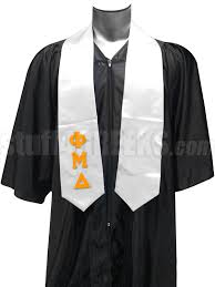 graduation stoles phi mu delta satin graduation stole with letters white