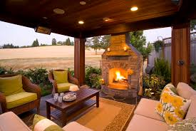 covered outdoor living spaces fireplace propane fireplace in contemporary patio with chair