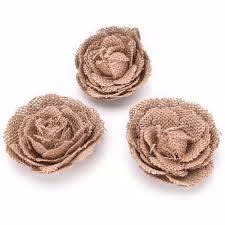 5 pcs handmade jute hessian burlap flowers rose shabby chic