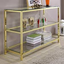 gold and glass table hill trading millenial hansen gold console table