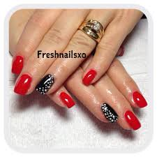 red black and white gel nails nails i u0027ve done pinterest