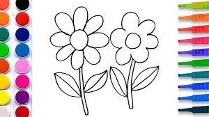 flowers coloring pages salt painting for kids fun art learning