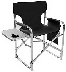 Folding Directors Chair With Side Table Aluminum And Canvas Folding Director S Chair With Side Table By
